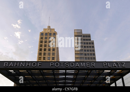 High-rise buildings Potsdamer Platz square in the early evening, Berlin, Germany, Europe - Stock Photo