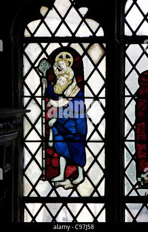 St Christopher stained glass panel, Chapel of Edward the Confessor, medieval stained glass, Canterbury Cathedral, - Stock Photo