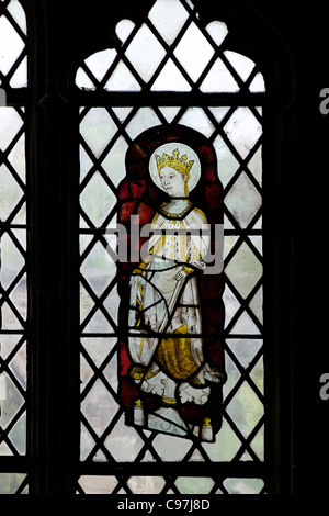 Queen Edith of Wessex, stained glass panel, Chapel of Edward the Confessor, medieval stained glass, Canterbury Cathedral, - Stock Photo