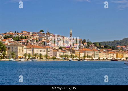 Adriatic Town of Mali Losinj, view from sea, beautiful croatian touristic destination seafront - Stock Photo