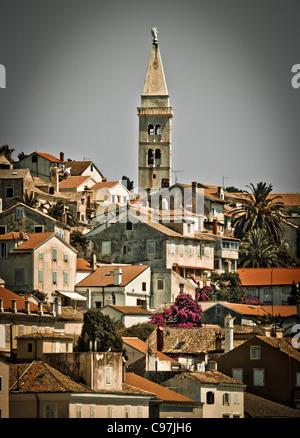 Beautiful town of Mali Losinj, Croatia - vertical view - Stock Photo