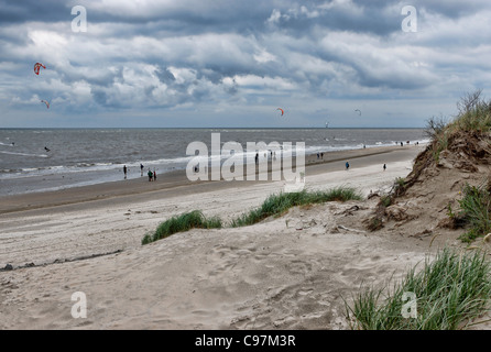 Windy day on the beach, Westdorf, North Sea Island of Baltrum, East Frisia, Lower Saxony, Germany - Stock Photo