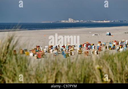 Main Beach with view towards Norderney, North Sea Island Juist, East Frisia, Lower Saxony, Germany - Stock Photo