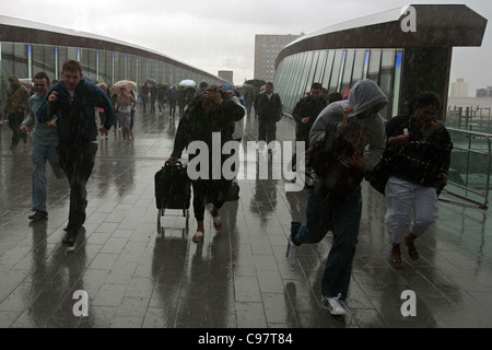 shoppers in a storm at westfield stratford london - Stock Photo