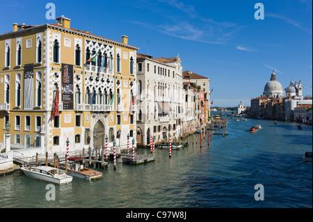 Grand Canal from Ponte dell' Accademia bridge with Chiesa di Santa Maria della Salute in the background Venice Veneto - Stock Photo