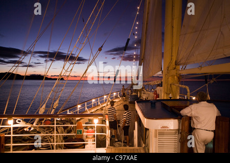 Bridge and bow of sailing cruiseship Star Flyer (Star Clippers Cruises) at dusk El Coco Guanacaste Costa Rica Central - Stock Photo