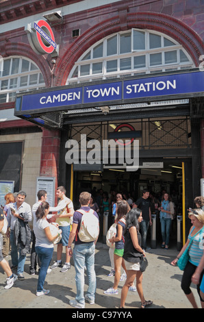 Entrance/exit to Camden Town underground station in Camden Town, London, UK. - Stock Photo