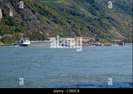 Freighter on the River Rhine, Bacharach, Rheinland-Pfalz, Germany - Stock Photo