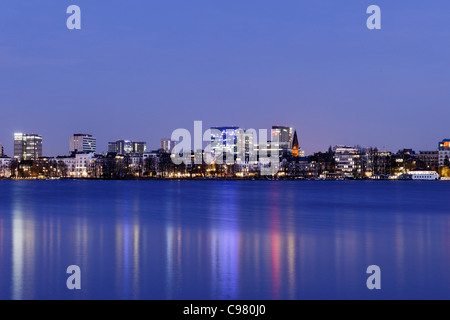 Panorama, winter, Outer Alster lake, Winterhude district, Hanseatic city of Hamburg, Germany, Europe - Stock Photo