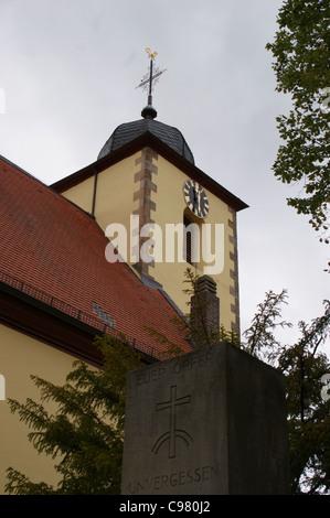 Salvatorkirche church in the wine village of Ungstein near Bad Duerkheim in the Pfalz wine area, Rheinland-Pfalz, - Stock Photo