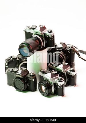 a selection of old Nikon 35mm film SLR single lens reflex cameras - Stock Photo