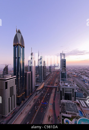 View of downtown Dubai, towers, skyscrapers, hotels, modern architecture, Sheikh Zayed Road, Financial District, - Stock Photo