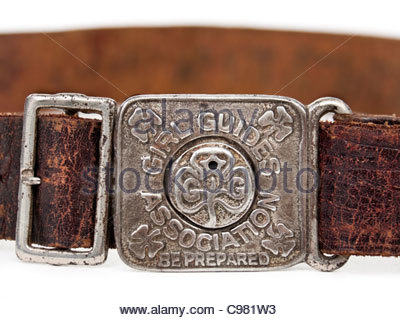 Vintage Girl Guides Association leather belt with buckle showing their motto 'Be Prepared' - Stock Photo
