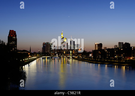 Panoramic view of the financial district skyline at dusk, Frankfurt am Main, Hesse, Germany, Europe - Stock Photo