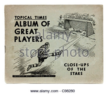 Vintage 1930's football photo album 'Topical Times, Album of Great Players, Close-ups of the Stars' - Stock Photo
