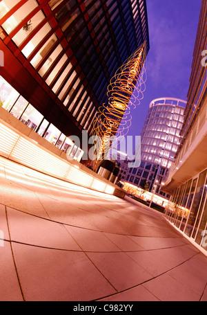 Light Art view of International Coffee Plaza Tower at night, Sandtorpark, Hafencity harbor city, Hamburg-Mitte district, - Stock Photo