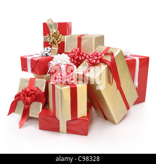 Huge pile of Christmas gift boxes isolated on white background - Stock Photo