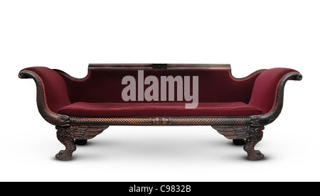 Antique victorian wooden dark red sofa isolated on white background - Stock Photo