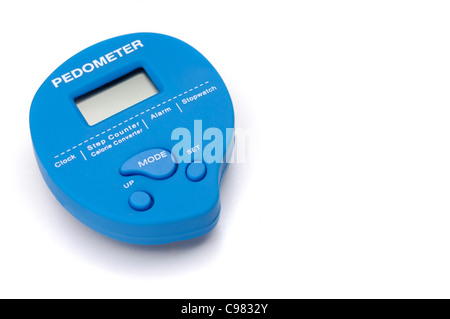 Closeup of Pedometer isolated on white background - Stock Photo