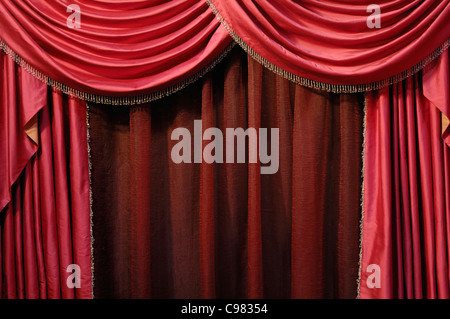 Red curtain background - Stock Photo