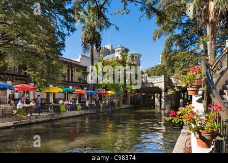 Waterfront restaurant on River Walk in downtown San Antonio, Texas, USA - Stock Photo