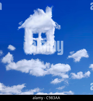 House made by clouds in blue sky Real estate Property insurance Home ownership housing concept - Stock Photo