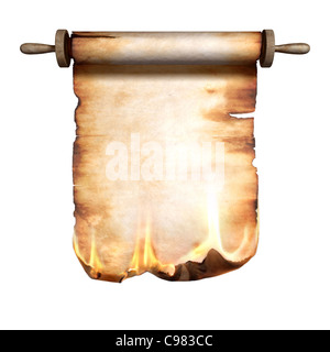 Burning roll of parchment isolated on white background - Stock Photo