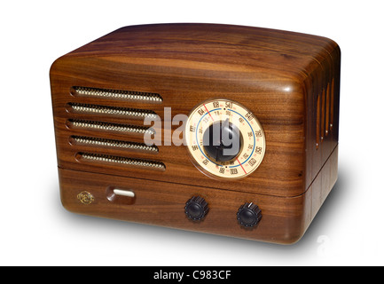 Wooden retro VEF radio with vacuum tube amplifier. Isolated silhouette on white background with a clipping path. - Stock Photo