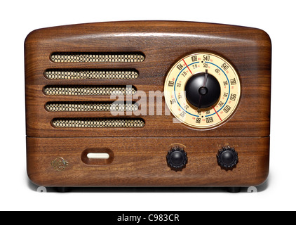 Wooden retro VEF radio with vacuum tube amplifier. Isolated silhouette on white background - Stock Photo
