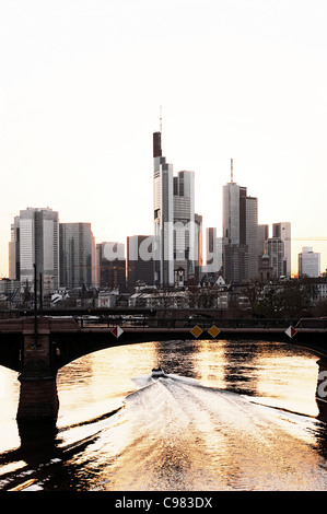 Skyline, financial district against the light, Frankfurt am Main, Hesse, Germany, Europe - Stock Photo