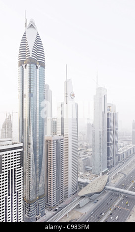 Modern architecture, high-rise buildings, Sheikh Zayed Road, Downtown Dubai, Dubai, United Arab Emirates, Middle - Stock Photo