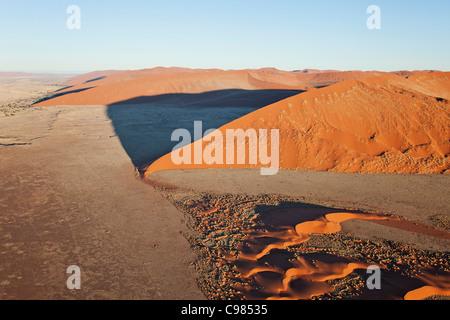 Aerial view of massive sand dunes - Stock Photo