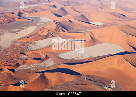 Aerial view of red sand dunes at Sossusvlei - Stock Photo