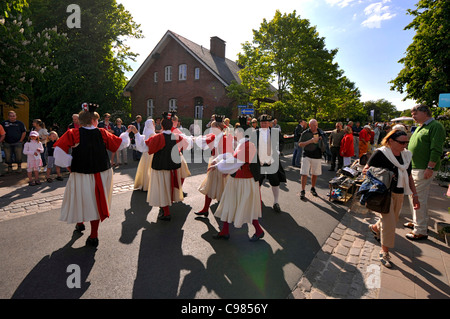 Dancers in traditional costumes, Gurttig Festival, Keitum, Sylt, Schleswig-Holstein, Germany - Stock Photo