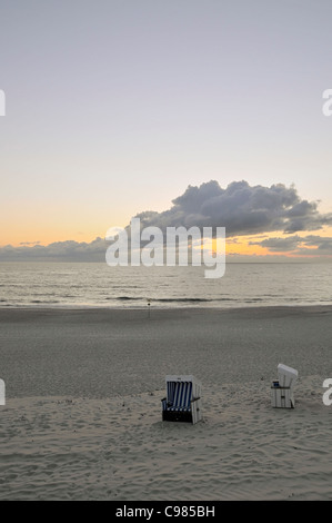 Beach chairs, Westerland, Sylt, North Frisian Islands, Schleswig Holstein, Germany, Europe - Stock Photo