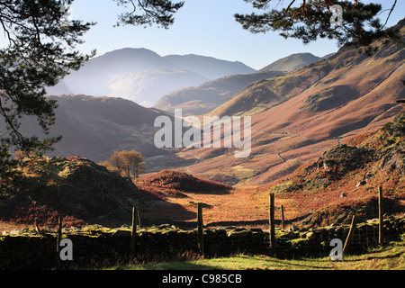Borrowdale from Castle Crag in autumn English Lake District, Cumbria, UK - Stock Photo