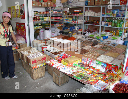 Tour of spice market in Fengdu, China - Stock Photo