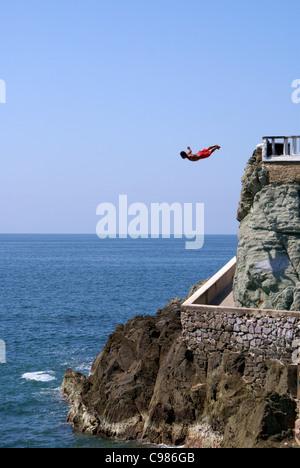 Cliff diver at Punta Clavadista in Mazatlan, Sinaloa, Mexico - Stock Photo