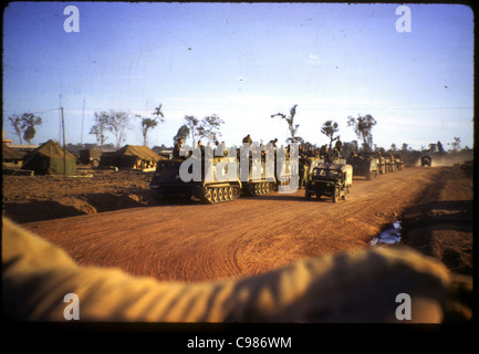 9th Infantry Division arriving in Vietnam APC M113 armored personnel carrier troops soldiers on road waiting - Stock Photo