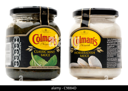 Two jars of Colmans sauces Classic mint sauce and Horseradish sauce - Stock Photo