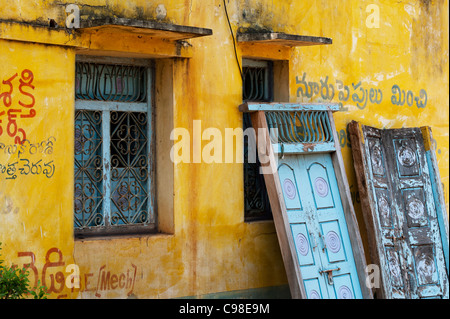 Old colourful Indian village house. Andhra Pradesh. India