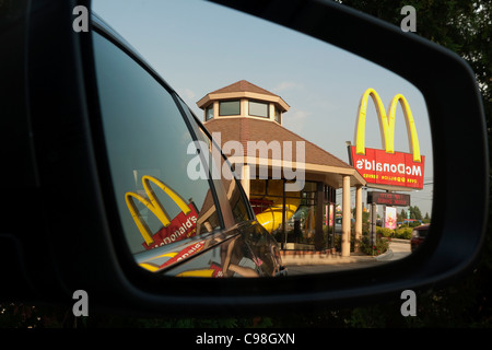 McDonald's fast food restaurant in Indiana USA - Stock Photo