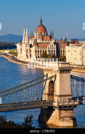 Budapest, Chain Bridge over Danube River and Hungarian Parliament Building - Stock Photo
