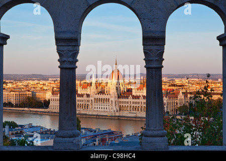 Hungarian Parliament Building view from Fishermen's Bastion - Stock Photo