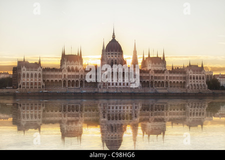 Budapest, Hungarian Parliament Building at Sunrise - Stock Photo