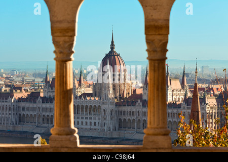 Budapest, Hungarian Parliament Building view from Fishermen's Bastion - Stock Photo
