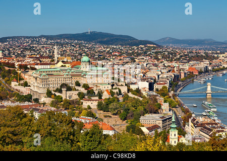 Budapest, Royal Palace and Matthias Church, View from Gellert Hill - Stock Photo