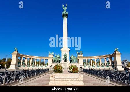 Budapest, Millennium Monument and Heroes' Square - Stock Photo