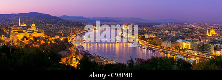 View of Budapest at Night - Stock Photo