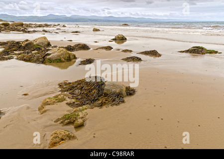 Tranquil scene at Criccieth beach in low tide - Stock Photo